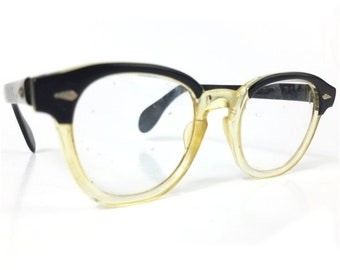5b01a8b1bdf6 Vintage American Optical Two tone Black and Clear Acrylic Eyeglass frames  Military issue safety glasses