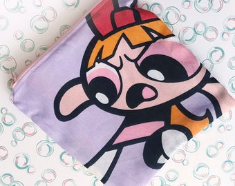 3d73591824b Powerpuff girls bubbles and blossom zipper clutch pouch cosmetic or pencil  bag