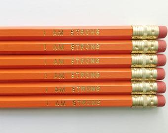 I Am Strong Gold Foil Orange Pencils – Set of 6