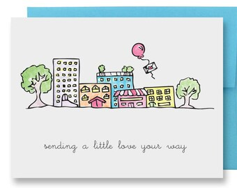 Friendship Thinking of You Card - Hand Illustrated Little Town with Red Balloon