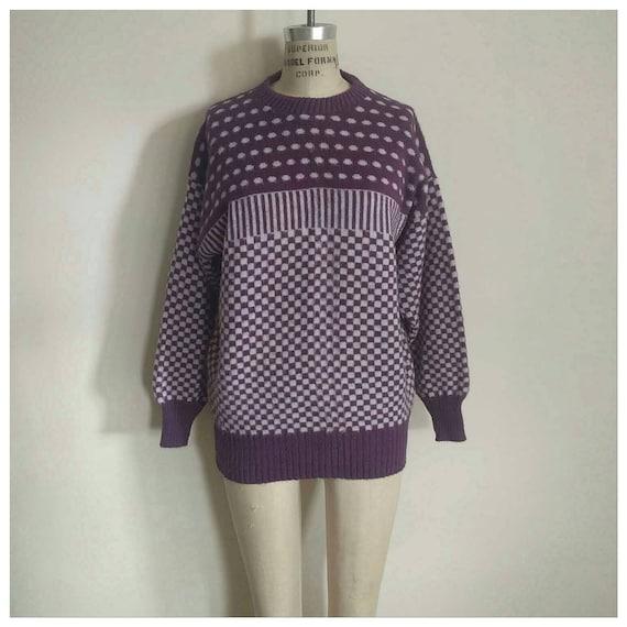 Vintage 80er lila weißen abstrakten losen passen Pullover