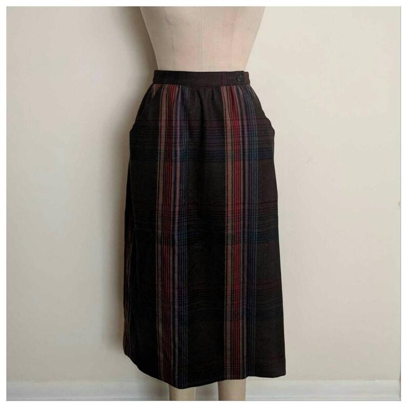 b8a74bf72dac Vintage 80s plaid WOOL pencil skirt high waist | Etsy