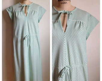 Vintage emerald green and white striped dress