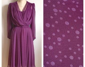 Vintage 1970s sheer plum dress