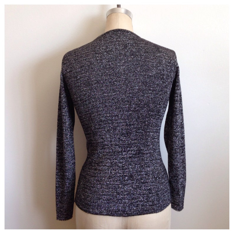 Vintage black and silver metallic long sleeve knit