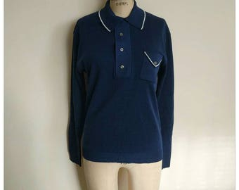 Men's vintage 70s navy blue long sleeve shirt