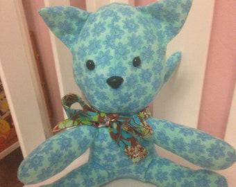 Aqua Blue Floral Print Cat Stuffed Animal
