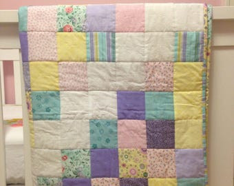 Pastel Pink, Purple, and Yellow Baby Quilt