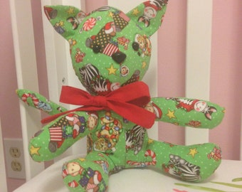 Green and Red Bazooples Christmas Cat Stuffed Animal