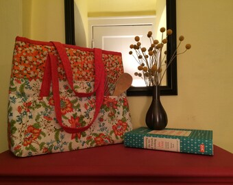 Cheerful Red & Orange Floral Fabric Tote Bag