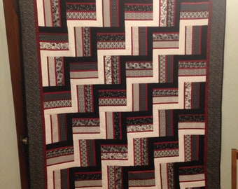 Black, White, and Red Rail Fence Twin/Full Quilt