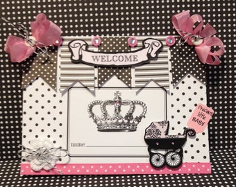 Baby Girl Card, Welcome Baby Card, Baby Carriage