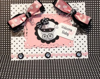Baby Girl Card, Welcome Baby Card, Handmad Card, Embellished Card, Baby Carriage