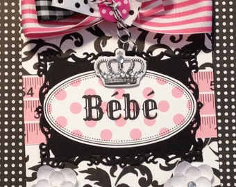 Baby Girl Card,Bebe Card, Welcome Baby Card, Handmad Card, Embellished Card, Baby Carriage