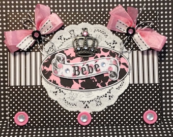 Baby Girl Card, Bebe Card, Welcome Baby Card, Handmad Card, Embellished Card, Baby Carriage
