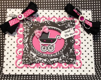 Baby Girl Card, Welcome Baby Card, Handmade Card, Embellished Card, Baby Carriage