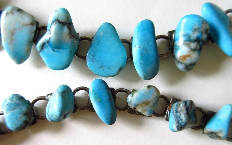 Nugget Book Chain Link 7 Vintage 60s Boho ON SALE Turquoise Bracelet Set of 2