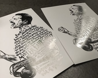 "10"" x 13"" Hand-Lettered Metallic SILVER FOIL Freddie Mercury Typographic Print"