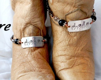 SIGN LANGUAGE Jewelry Boot Chains Love Boot Jewelry ASL Jewelry Boot Bling Boot Cuffs