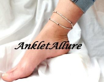 WRAP BEADED Ankle Bracelet Anklet SILVER Ankle Bracelet Anklets for Women