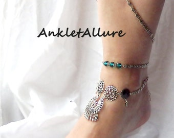 LAYERED Set BELLY Dance Anklets for Women LEG Chain Body Jewelry Crystal Jewelry