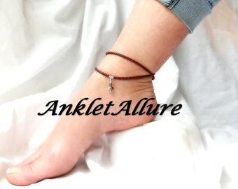 AMAZONITE Anklet LEATHER Ankle Bracelet Elegant WRAP Anklets for Women Guarantee
