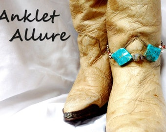 TURQUOISE Boot Chains WESTERN Boot Jewelry Boot Bracelets Boot Charms