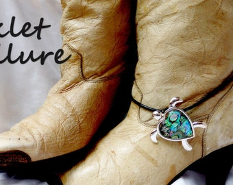 TURTLE Boot Chains ABALONE Jewelry LEATHER Boot Jewelry Boot Bracelets Boot Charms