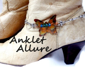 BUTTERFLY Boot Chains COPPER Boot Jewelry TORCHED Boot Bracelets Boot Charms