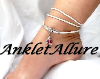 GLADIATOR WRAP Anklet AMETHYST Beach Anklets for Women Crystal Jewelry