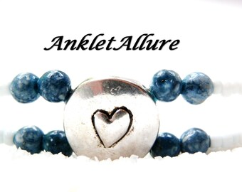 DOUBLE Ankle Bracelet BEACH Anklet Beach Proof BEADED Stone Anklets for Women Blue