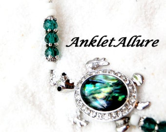 ABALONE TURTLE Ankle Bracelet BEACH Anklets for Women  Beaded Anklets