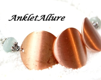 COPPER Ankle Bracelet AMAZONITE Anklets for Women CUFF Anklets