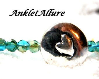 Simple HEART Anklet Black BEACH Ankle Bracelet BEADED Anklets for Women Beach Proof