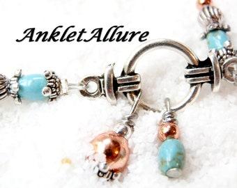 Anklet TURQUOISE Ankle Bracelet Elegant STONE Anklets for Women Copper Anklet Guaranteed