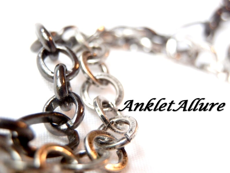 MIXED METAL Chain Anklet Silver Blacken Ankle Bracelet Renaissance Anklets for Women