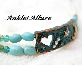 Anklet To The Moon And Back Ankle Bracelet Aged Turquoise Copper Anklets For Women GUARANTEED