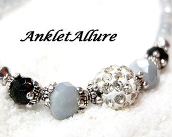 Anklet RHINESTONE Ankle Bracelet GRAY Anklets for Women Bling Anklet Black
