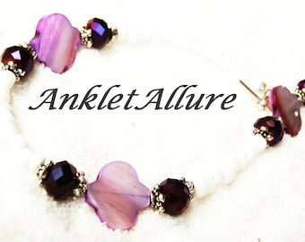 Beach Anklet Ankle Bracelet Shell Anklet Cruise Jewelry CHOKER Necklace Avail GUARANTEED Purple Anklets for Women