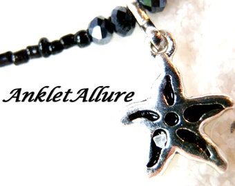 STARFISH Ankle Bracelet Black BEACH Anklets for Women SIMPLE Beaded Anklets Hi Low