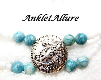 DOUBLE Anklet TURTLE Ankle Bracelet BEACH Anklets for Women Stone Beaded Anklets