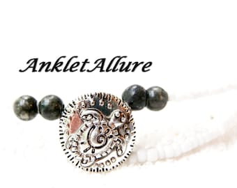 DOUBLE Anklet TURTLE Ankle Bracelet Beach Anklets for Women GRAY Stone Beaded Anklets