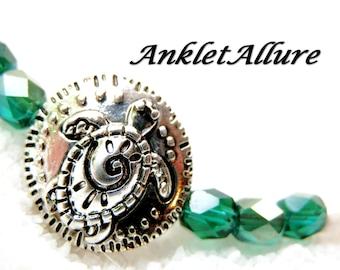 Anklet TURTLE Ankle Bracelet BEACH Anklets for Women Beaded Anklets Green Hi Low Anklets