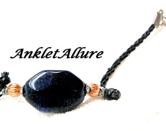 BEACH Anklet LEATHER Ankle Bracelet BEADED Anklets for Women Agate Stone