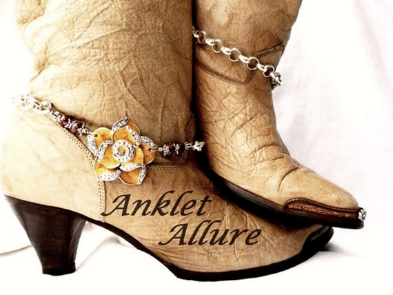 FLORAL Boot Jewelry FLOWER Boot Chains Boot Cuffs Gift for Her