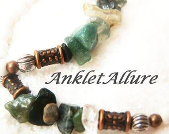 Anklet Stone Anklet White Ankle Bracelet Boho Anklet Cruise Jewelry Resort Jewelry