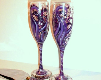 Ocean Waves Deep Dark and Light Purples and silver 4 Piece Wedding Set - 2-6 oz. Hand Painted Champagne Flute and Cake Knife & Server Set