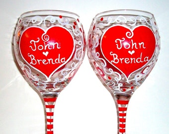 Valentine's Day Red Hearts Hand Painted Set of 2 - 20 oz. Wine Glasses Personalized Lover Gift for Lover Girl Friend Wife Romantic Names