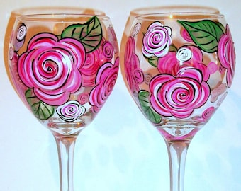 Bridesmaids Gift Hand Painted Wine Glasses Set of 2 -20 oz. Personalized Pink Roses, Bachelorette, Maid of Honor Mother of the Bride