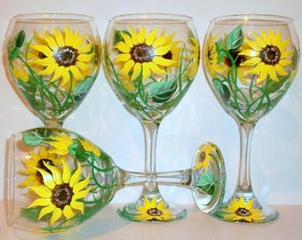 Bridesmaids Gift Bachelorette Party Hand Painted Wine Glasses Wedding Bridal Shower Mother of the Bride Yellow Sunflowers Set of 4
